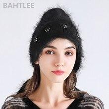 BAHTLEE sonbahar kış müslüman kadın Angora tavşan türban başörtüsü şal eşarp gerçek kürk şal örme pelerin pelerin siyah renk