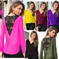 Purple Dark Red Sexy V-Neck Blouse Vintage Women Chiffon Lace Blouse Solid Ladies Elegant Blouses Long Sleeve S/M/L/XL/XXL DYA35