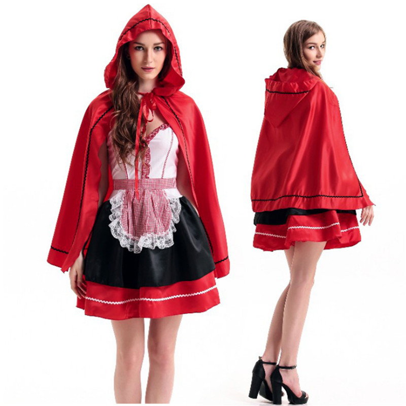 plus size Fairy tale little red hood cosplay uniform Halloween role playing uniform temptation Carnival Christmas party dress