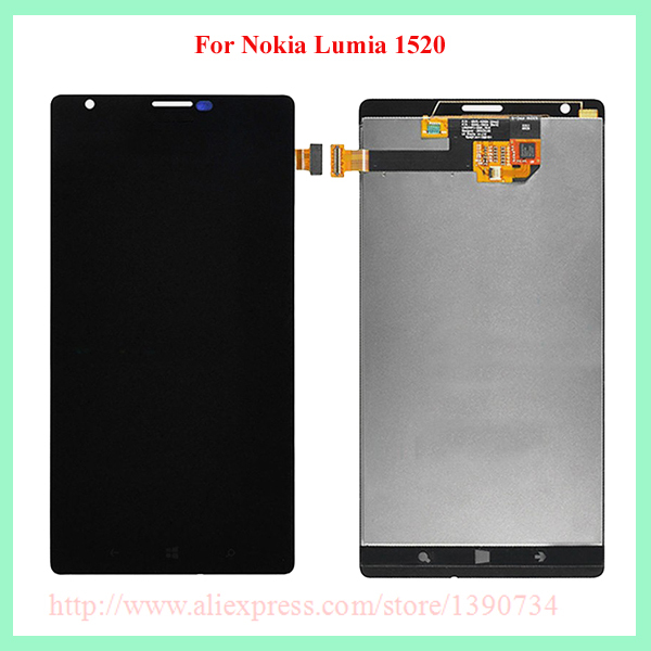 ФОТО 100% Tested Working 1520 Black LCD Display +Glass Sensor Touch Screen Digitizer Assembly For Nokia Lumia 1520 Mobile Replacement