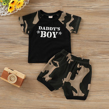 Infant Baby Boy Kid Letter Camouflage Printed Tops T Shirt+Shorts Outfits Set