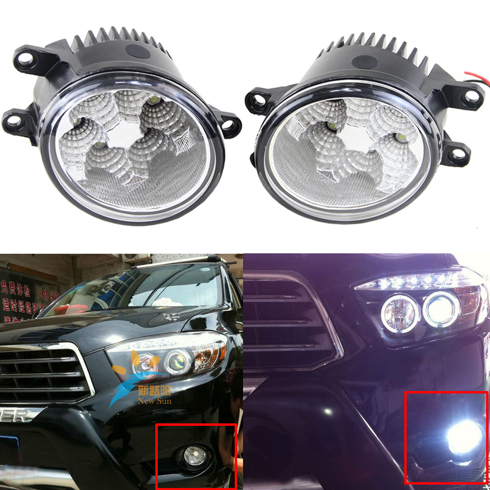 Car Styling 12V 24V LED Fog Light 1100LM DRL Daytime Running Light Fog Lamp White Waterproof for Toyota Prius Camry RAV4 AVANZA universal pu leather car seat covers for toyota corolla camry rav4 auris prius yalis avensis suv auto accessories car sticks