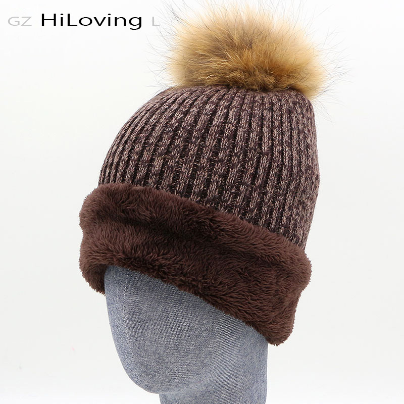 2016 Womens Winter Long Baggy Knit Hat With Fur Pom Pom Mens Warm Slouch Fur Ball Wool Knitted Beanies Ladies Bobble Bonnet Hats hot winter beanie knit crochet ski hat plicate baggy oversized slouch unisex cap