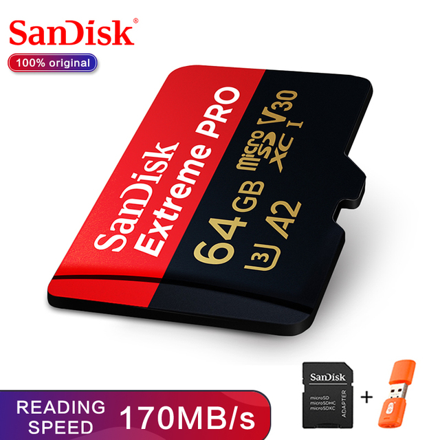 SanDisk Extreme Pro microSDHC/microSDXC New upgrade Memory Card 32GB microSD Card 64GB TF Card 170MB/s 128GB Class10 U3 A2 V30