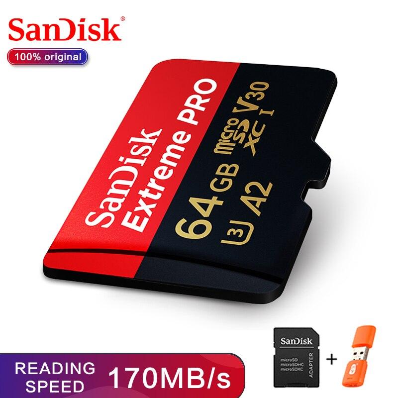 SanDisk Extreme Pro microSDHC/microSDXC nouvelle carte mémoire de mise à niveau 32GB carte microSD 64GB carte TF 170 MB/s 128GB Class10 U3 A2 V30