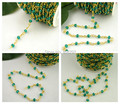 New Style! 4MM Wire Wrapped Beaded Chains Gold plated Rosary chain Green Color faceted Beads jewelry making