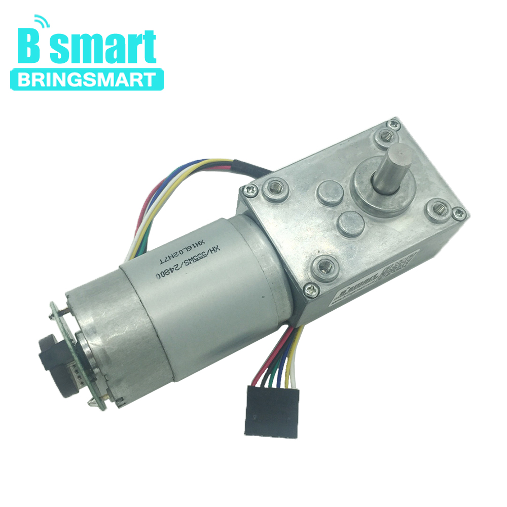 Bringsmart A58SW-555B <font><b>Encoder</b></font> Worm <font><b>Geared</b></font> DC <font><b>Motor</b></font> with <font><b>Encoder</b></font> Disk 12 Volt High Torque Turbine Worm Reducer Self-Lock 24V DIY image