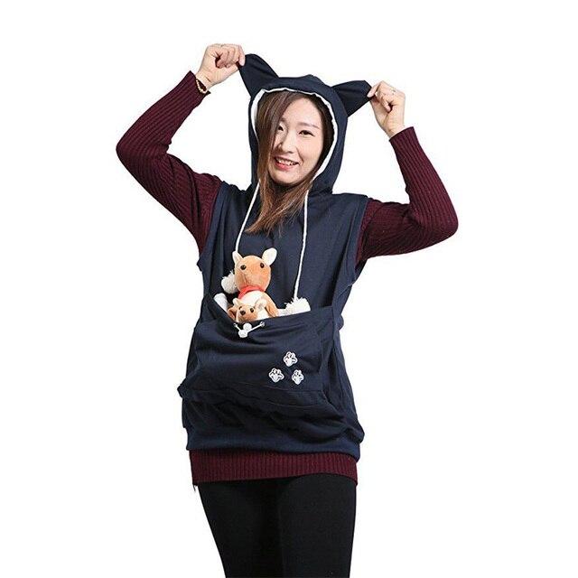 a7e35a35c13a Pet Pouch Holder Sleeveless Sweatshirt Mewgaroo Nyangaroo Dog Cat Lovers  Ears Hoodies Cuddle Pocket Pullover