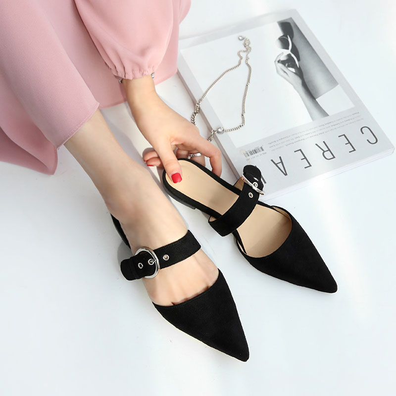 2019 new pointed toe half slippers female summer wear fashion sandals flat bottom no heel lazy shoes2019 new pointed toe half slippers female summer wear fashion sandals flat bottom no heel lazy shoes