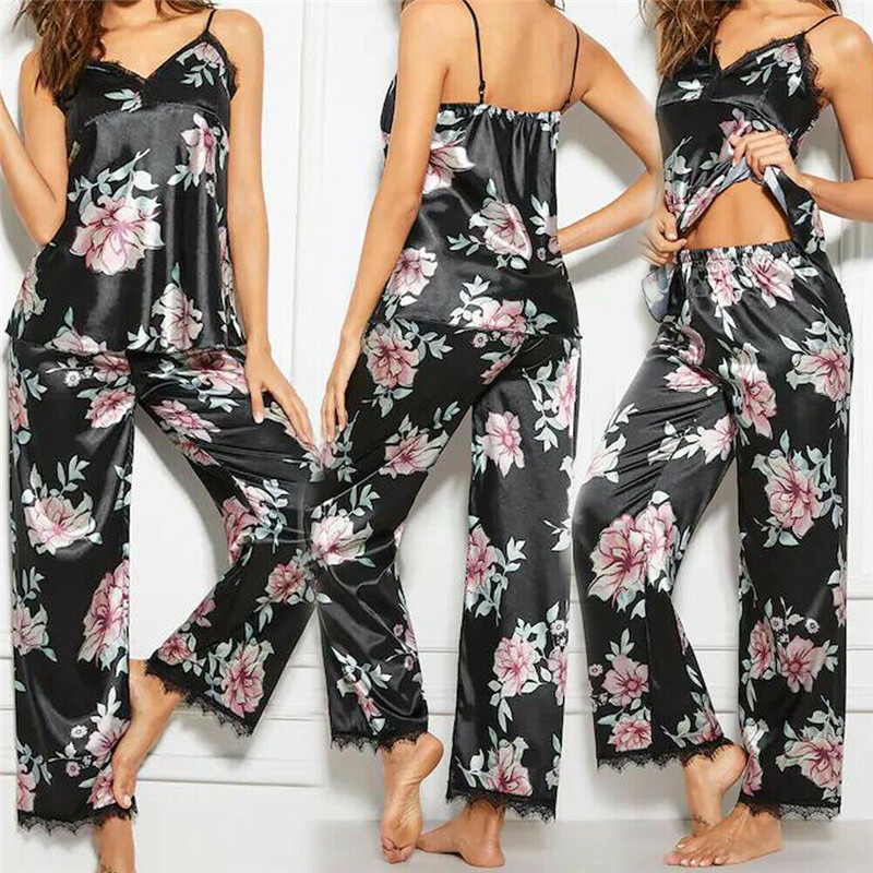 New Fashion Ladies Underwear Sleeveless Black Lace Floral Pajamas + Printed Satin Trousers Underwear Set