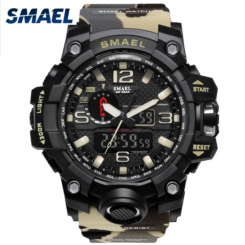 SMAEL Brand Sport LED Watches Fashion Male Clock Kaki Color 1545B 5Bars Swimming Camoufl ...