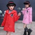 2016 Nova Crianças Crianças Roupas Meninas Casacos de Inverno Misturas De Lã Brasão Cordeiro Chateado Pano Criança Casacos Único Breasted Outerwear B437