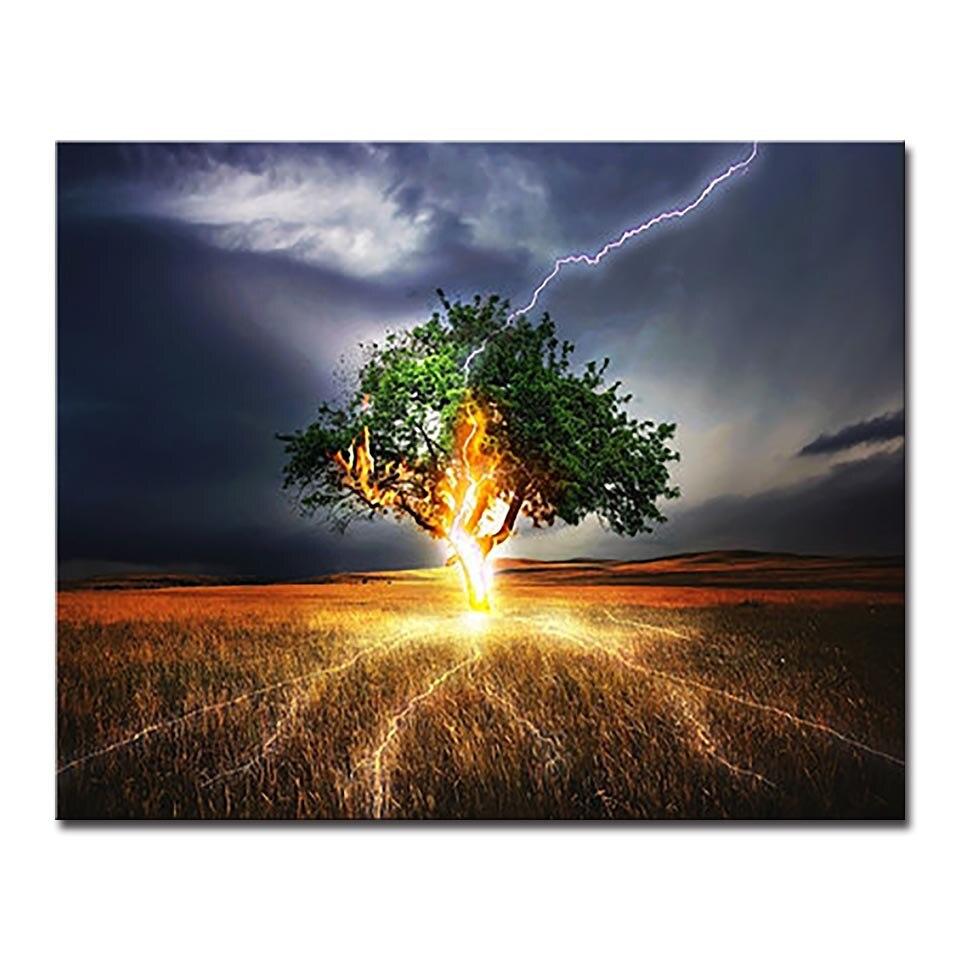 US $9 25 OFF DIY Mewarnai Minyak Lukisan Dengan Angka Menggambar Pohon Thunder Handpaint Kanvas Gambar Ruang Tamu Dekorasi Pemandangan Unik