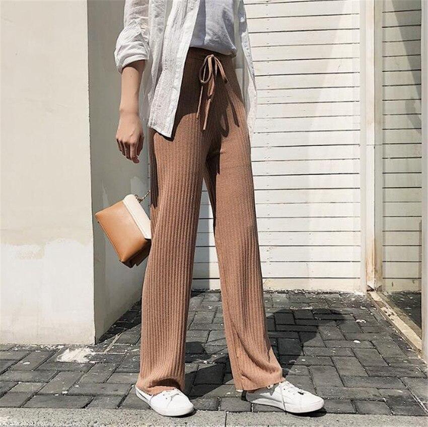 MLCRIYG корейской завершающий женские вязаные с широкими брючинами прямые талия тонкая талия брюки
