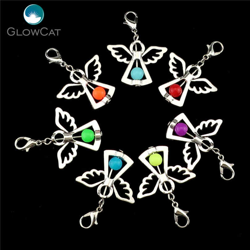 14pcs Charms Handmade Colorful Acrylic Beads Charm Guardian Angel Wings Diy Pendant For Jewelry 22526