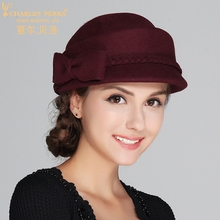 Charles Perra Brand Women Hats Autumn Winter Fashion Hat Elegant Lady Wool Beret Keep Warm England Style Fedoras 5705
