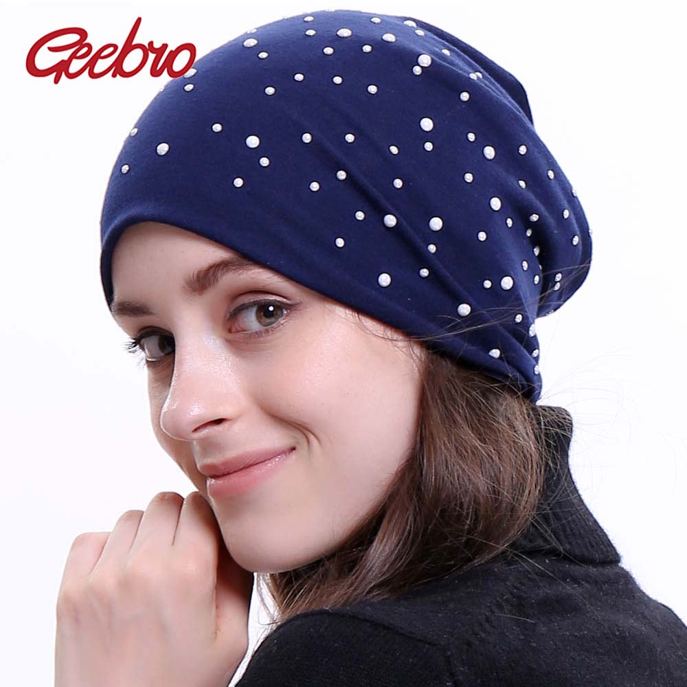 Geebro Brand Women's   Beanie   Hat Autumn New White Pearl Dot Slouchy   Beanie   for Women Female Polyester Plain   Skullies     Beanies