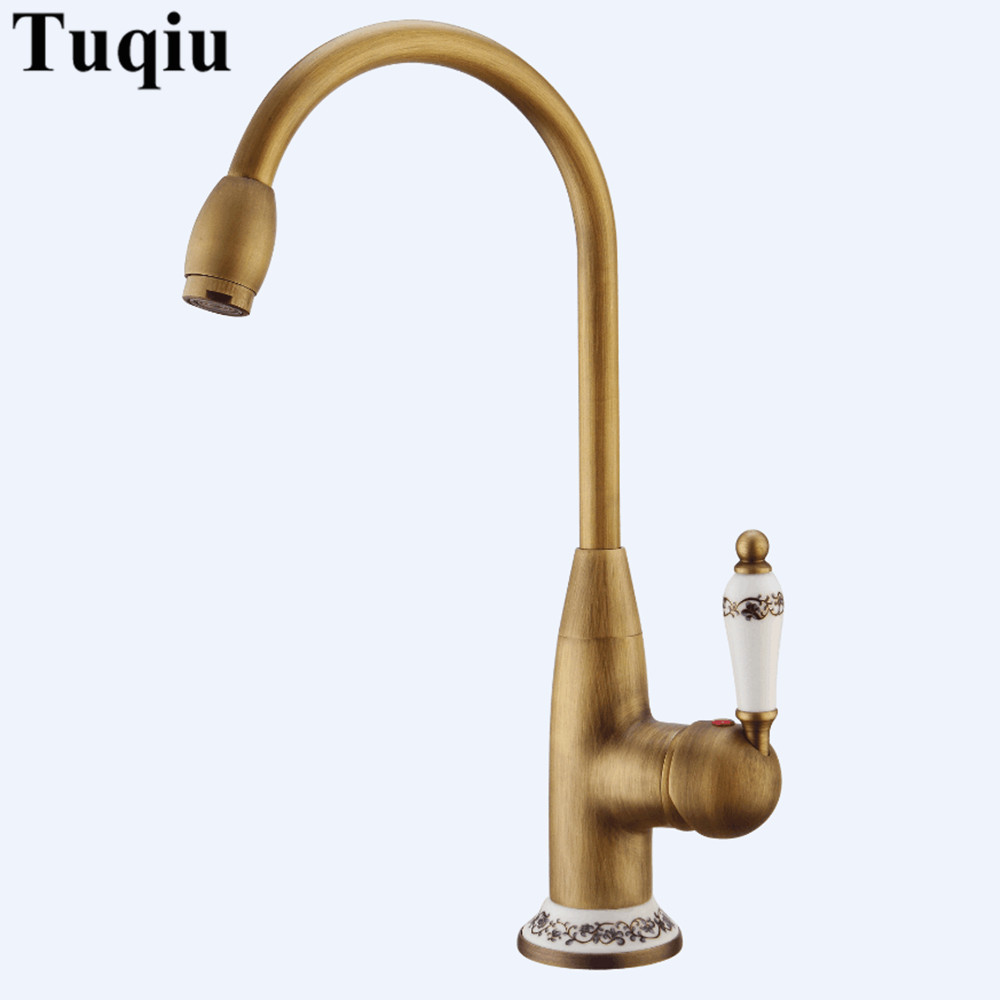 Kitchen Sink Faucets Antique Kitchen Mixer Tap Ceramic Cold and Hot Kitchen Sink Crane Single Handle Deck Mounted Faucet