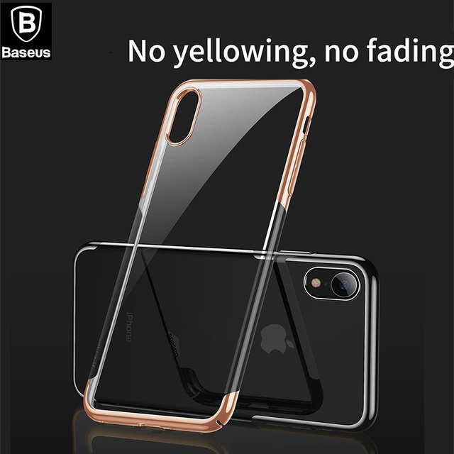 half off e70ea 817a4 US $6.92 29% OFF|BASEUS Glitter Series Case For iPhone XS / XS Max For  iPhone XR Shinning Metalized ARC Clear Durable PC Back Phone Cover-in ...