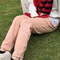 Cute cat patch bordado solto calças retas coreano jfashion estudante rosa casuais calças compridas grossas