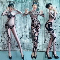Women Jazz Dance Costumes Long Sleeve Gogo Jumpsuit Sexy Nightclub Stage Print Bodysuit DS Dj Ds Gogo Costumes for Singer