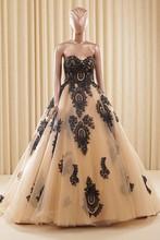 Sweetheart-line Quinceanera sukienki z czarnymi koronkowymi aplikacjami Lace Up powrót Prom sukienki na przyjęcie szampana niestandardowe tanie tanio Crockoonboo Poliester Długość podłogi Kochanie Bez rękawów Aplikacje Koronki Ruched