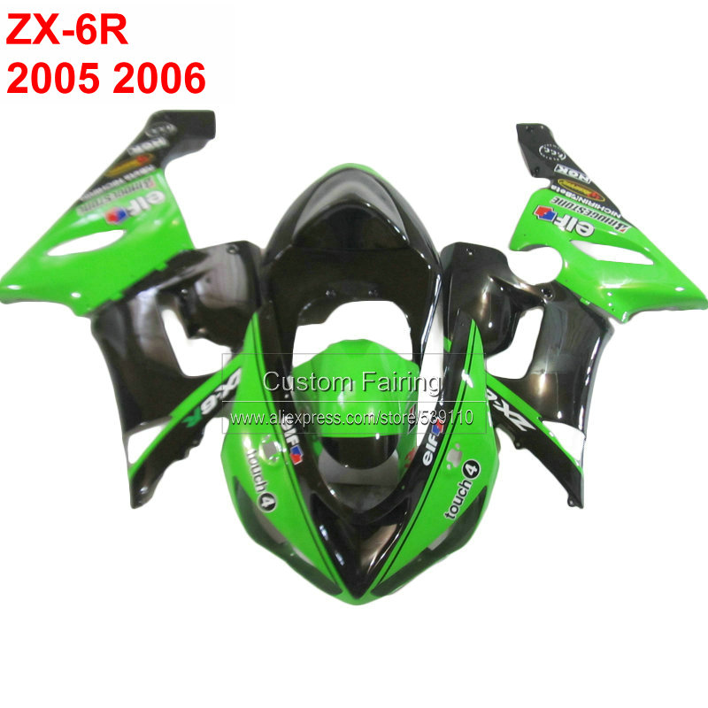 цена на High quility fairing kit for Kawasaki zx 6r zx6r Ninja 05 06 2005 2006 green black fairings xl30