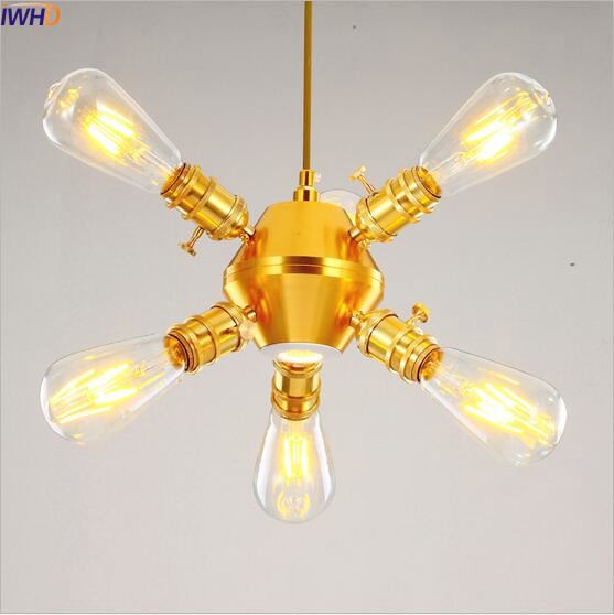 IWHD American Vintage Pendant Lamps Dinning Room Golden Style Loft Industrial Lighting Fixtures Hanging Lights Lamp LED Edison american style loft industrial lamp vintage pendant lights living dinning room retro hanging light fixtures lampe lighting