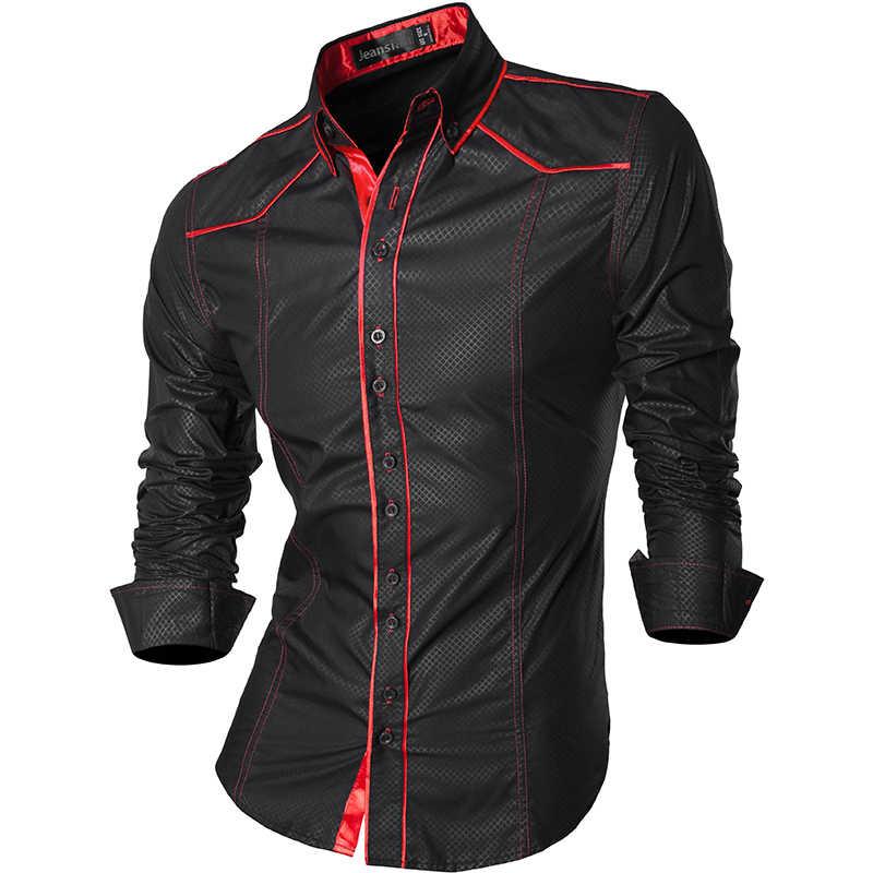 Новинка 2019, весенне-осенние мужские повседневные джинсовые рубашки с длинным рукавом, повседневные облегающие мужские рубашки Z034