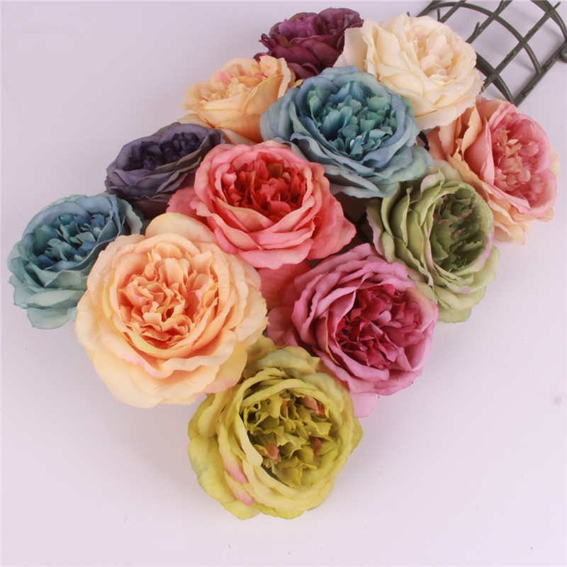 Artificial decorative peony heads simulation tea rose DIY silk flower head for wedding home party decoration
