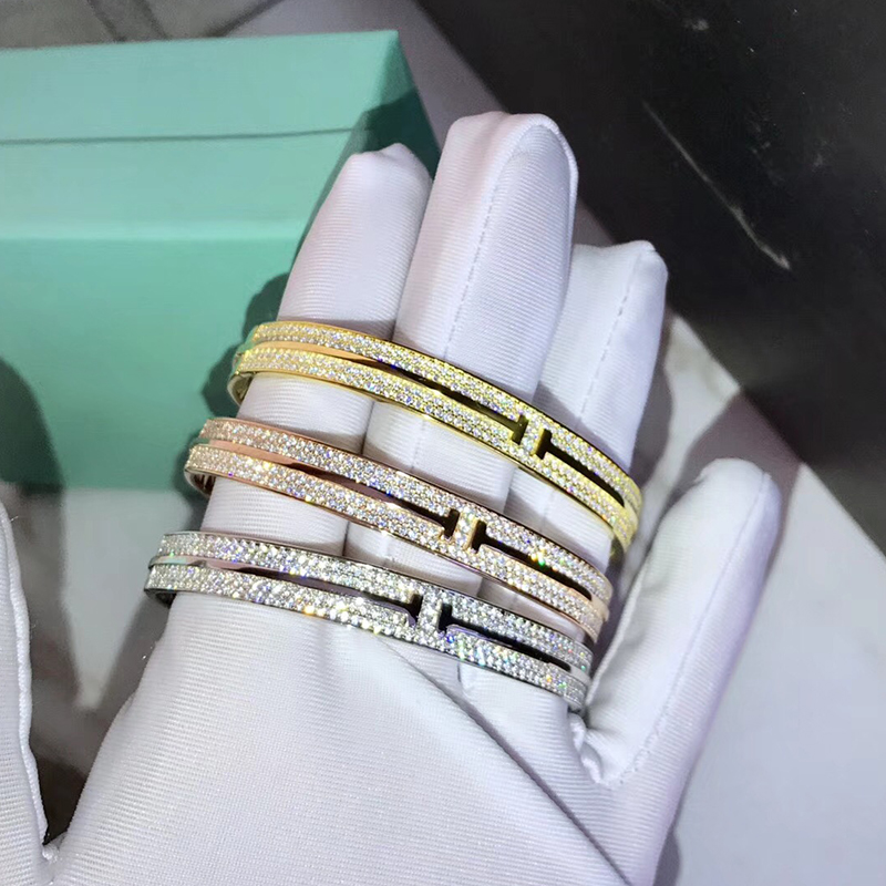 designer fashion 925 silver full of zircon T bracelet bangles women famous brand jewelry