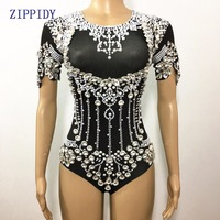 Black Shining Crystals Bodysuit Diamonds Sparkly Headpiece Outfit Sexy Stage Outfit Women Costume Birthday Celebrate Dance