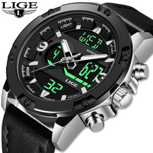 LIGE New Fashion Men's LED Sport Quartz Watch Men Multifunction Waterproof Date Luminous Wrist Watches Men Clock Horloges Mannen men watch women reloj mujer horloges mannen military leather waterproof date quartz analog army men s quartz wrist watches 4