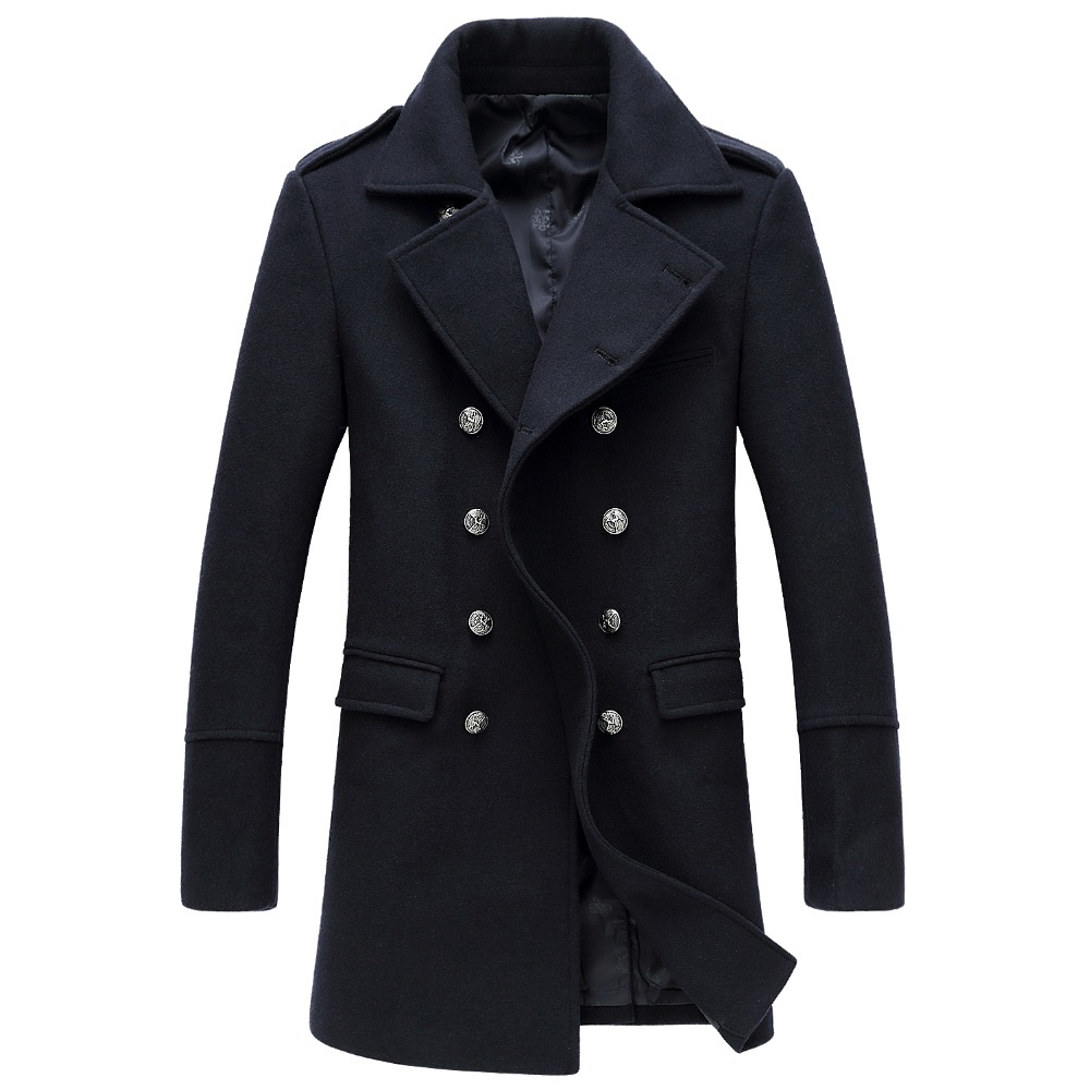 Shanghai Story 2018 hiver décontracté Double boutonnage manteau hommes col montant Slim Fit Long Trench manteau hommes laine pois manteau 2 couleurs - 3