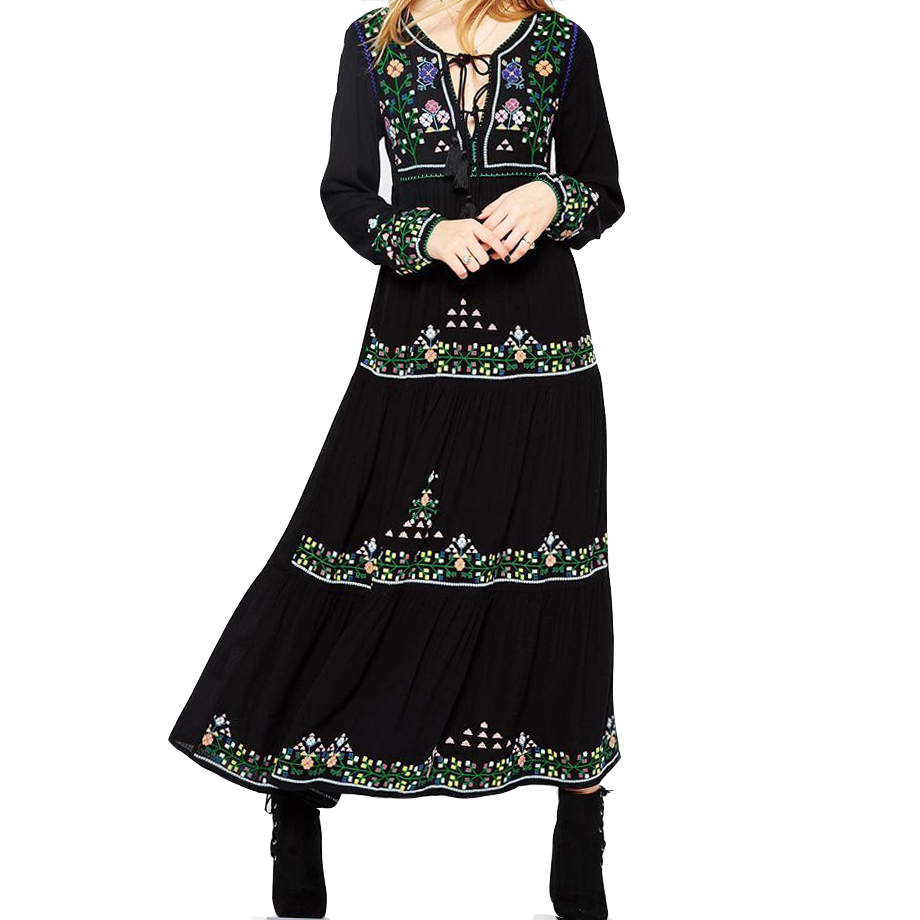 Khale Yose Spring Maxi Dress Long Sleeve Vintage Boho Chic Dress Women Floral Embroidery Dresses Gypsy
