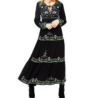 Black Embroidery Tassel Maxi Dresses For Women Autumn Cotton Tie In Front Long Sleeve Floral Ethnic