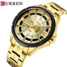 CURREN Golden Mens Quartz Wristwatch Stainless Steel Band Waterproof Chronograph Watches Calendar Dial Luxury Business Clock