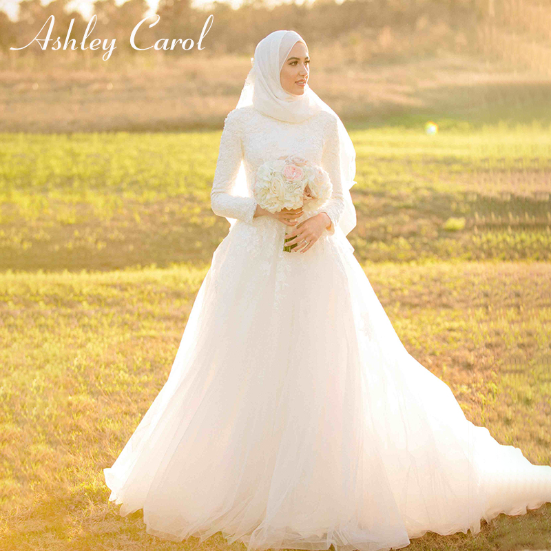 Ashley Carol Muslim Luxury Wedding Dress 2019 New Appliques Saudi Arabic Long Sleeve Court Train Elegant