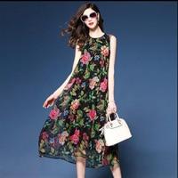 Elegant Floral Printed Dress Silk High Quality O Neck Summer Casual Sleeveless Beach Dress Women Brand