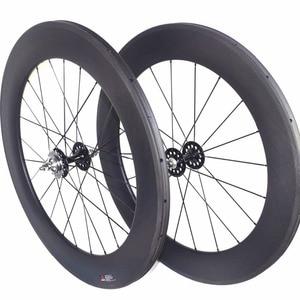 Image 3 - fixed gear carbon wheels flipflop carbon track wheelset  82mm depth 23mm width tubular wheels clincher single speed wheels
