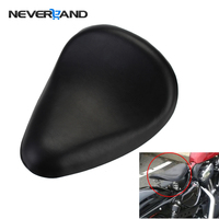Neverland Black Synthetic Leather Solo Seat For Harley Sportster 883 1200 XL Bobber Chopper Custom Motorcycle Seat Covers D35