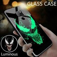 Marvel Venom Iron Man Luminous Glass Case For Huawei Mate 30 20 10 Pro Avengers Batman Black Panther Deadpool Phone Cover Funda