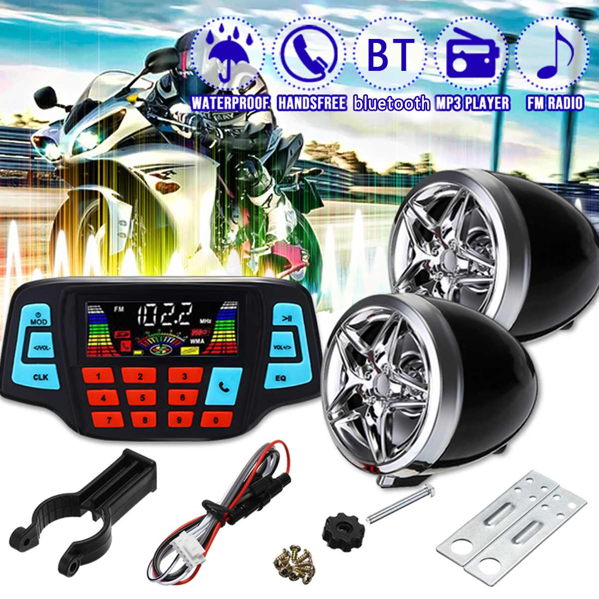 Motorcycle Waterproof MP3 Speakers Motor Handlebar Audio System USB TF Bluetooth FM Radio Built-in Microphone Car Accessories
