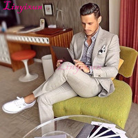 Linyixun Light Gray Linen Man Suit For Beach Wedding Groom Tuxedos Men Casual Prom Blazer Suits Groomsman Wear terno masculino
