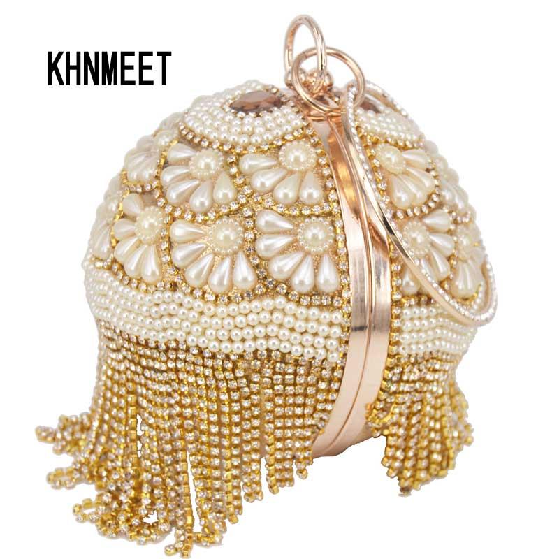 Bowling Design Pearl Clutch Bag circular ring Wristlets Bag Women Party  Evening Bag Crystal tassels Ball Female wallet XQ-15 18209d8de474