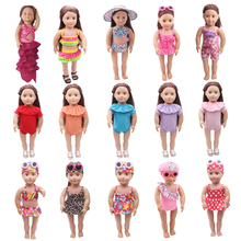 18 inch Girls doll swimsuit Bikini + swimming cap bathing suit American newborn jumpsuits Baby toys fit 43 cm baby dolls c137