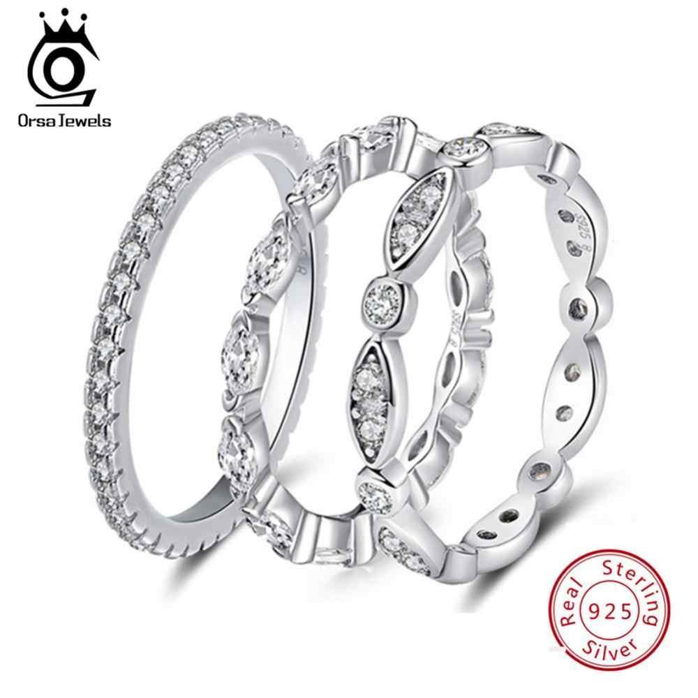 ORSA JEWELS จริง 925 เงินสเตอร์ลิงแหวนผู้หญิง AAA Cubic Zircon แฟชั่นเครื่องประดับนิ้วมือแหวนสำหรับสุภาพสตรี SR71