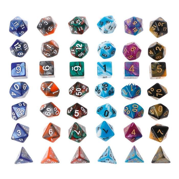 7pcs/set Creative RPG Game Dice D&D Colorful Multicolor Dice Mixed D4 D6 D8 D10 D12 D20 DND Dice