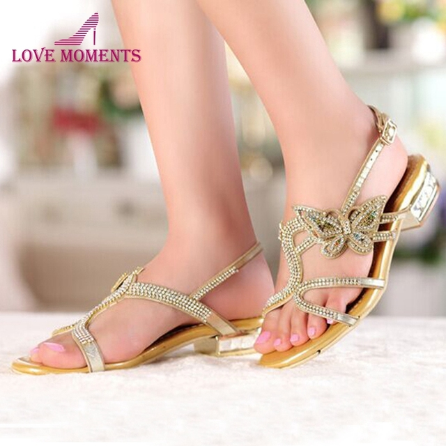 b354d89732b175 New Summer Sandals Open Toe Shoes Comfortable Female Slippers Gold Black  Color Women Sandals