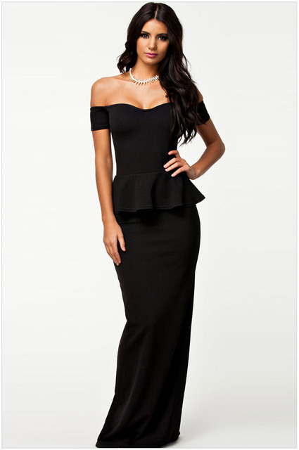 19149abbef10 2016 New Hot Sale Sexy Maxi Casual Dress Women Elegant Long Off Shoulder  Dress Gown NA6244 Black Size M L XL XXL